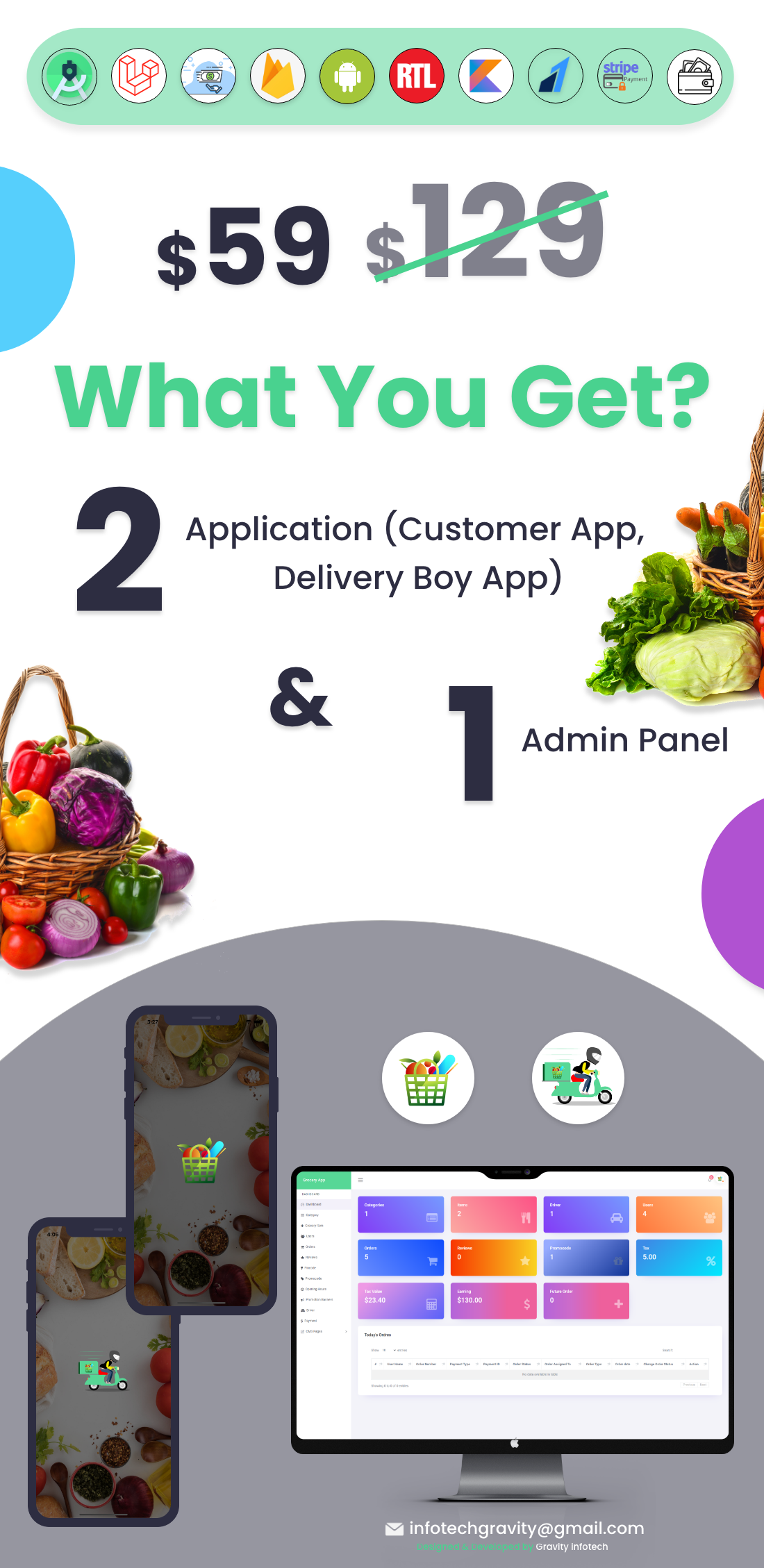 Single Grocery, Food, Pharmacy Store Android User & Delivery Boy Apps With Backend Admin Panel - 3