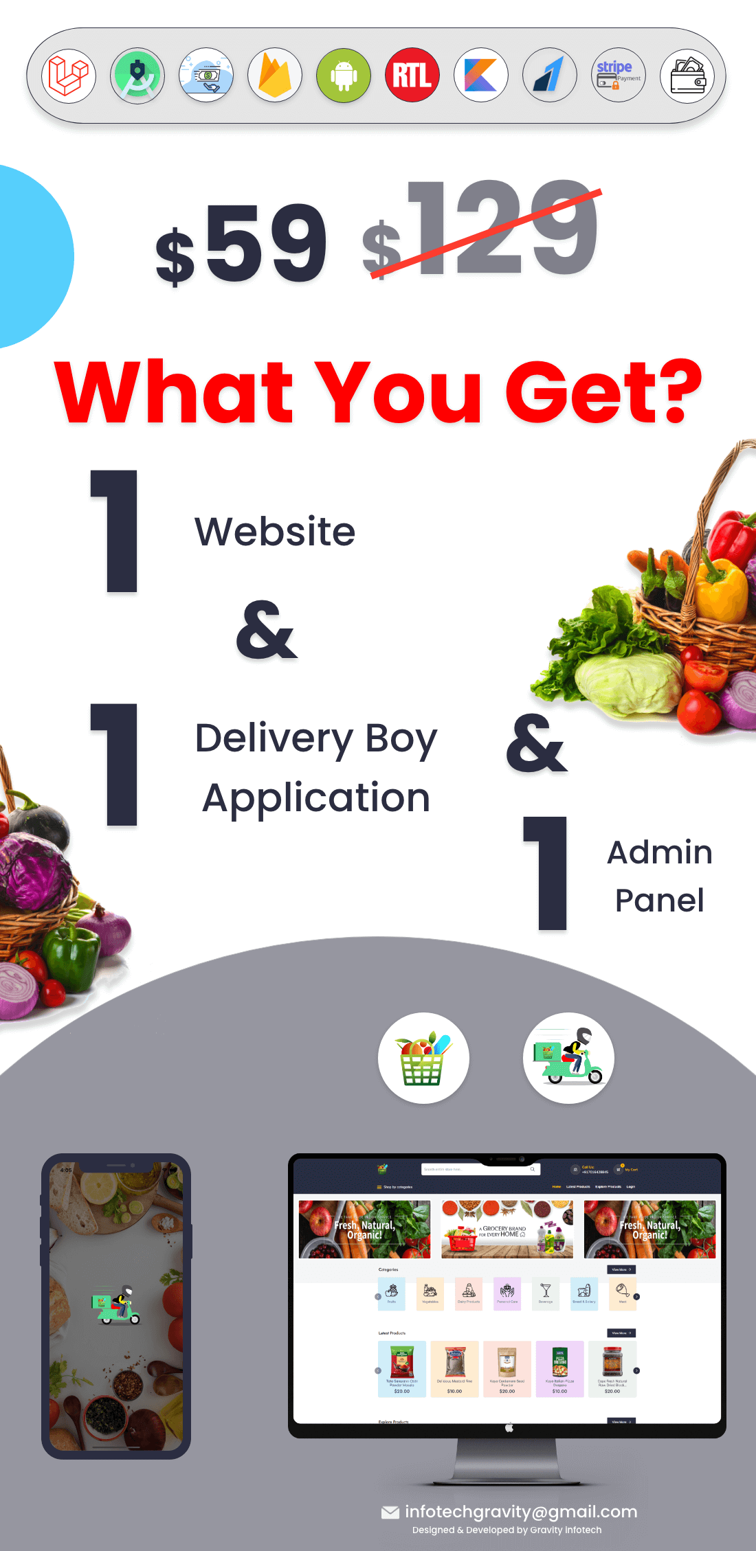 Single Grocery, Food, Pharmacy Store Website & Delivery Boy Application With Admin Panel - 3