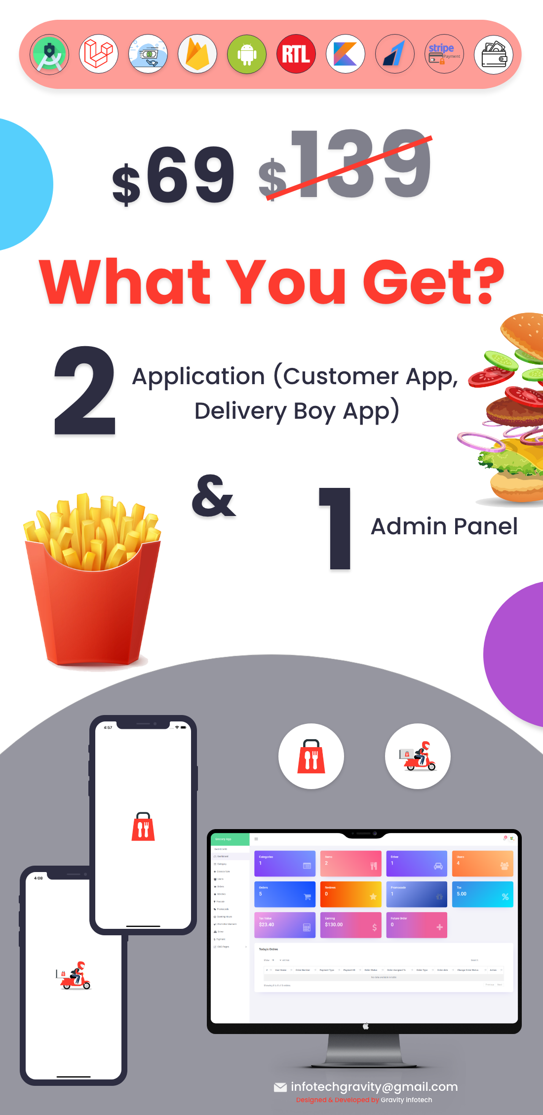 Single Restaurant Food Ordering Android User & Delivery Boy Apps with Backend Admin Panel - 3